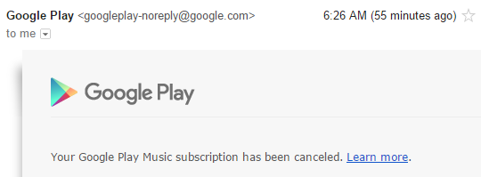 Google Music Subscription has been canceled.