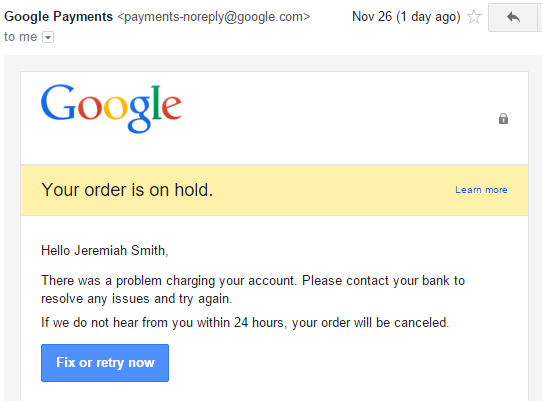 Google Music Order is on Hold Email
