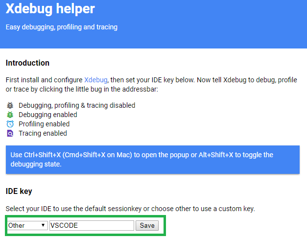 XDebug Extension IDE Key Setting