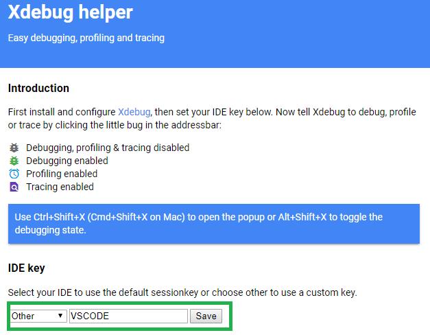 XDebug Extension IDE Key Setting