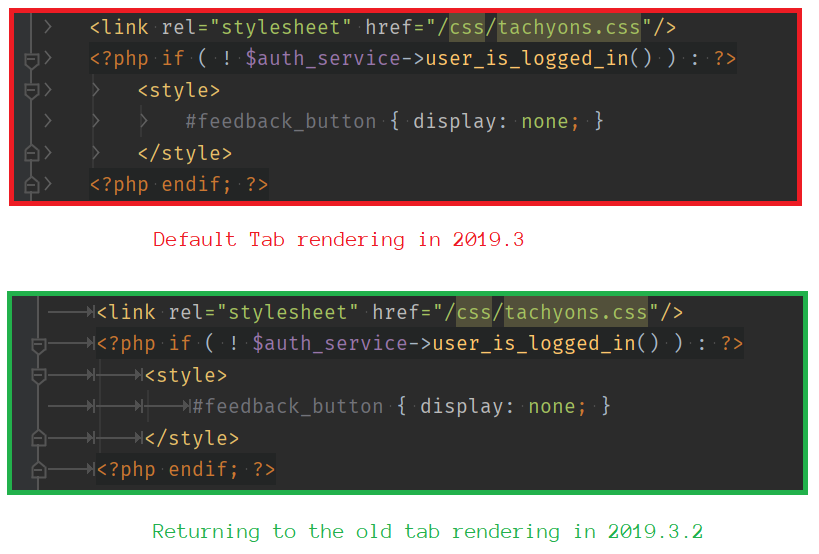A Comparison of default tab rendering in PHPStorm